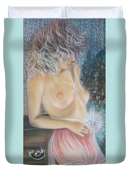 Blaa Kattproduksjoner      Crystal Wonder Viking Girl  Duvet Cover