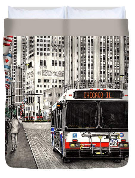 Cta Bus On Michigan Avenue Duvet Cover