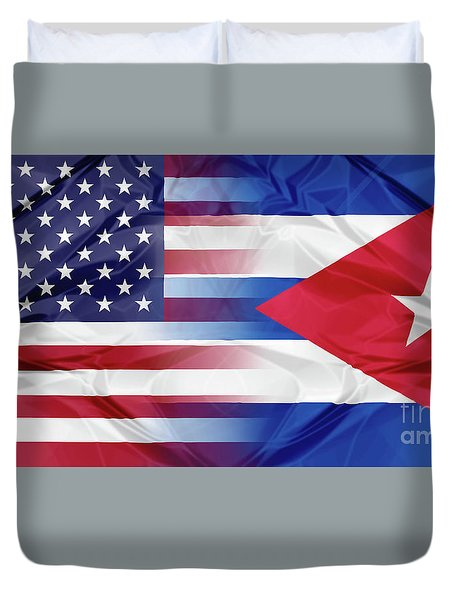 Cuba And Usa Flags Duvet Cover
