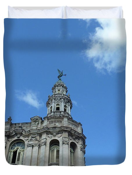 Duvet Cover featuring the photograph Cuba Architect And Skies by Francesca Mackenney