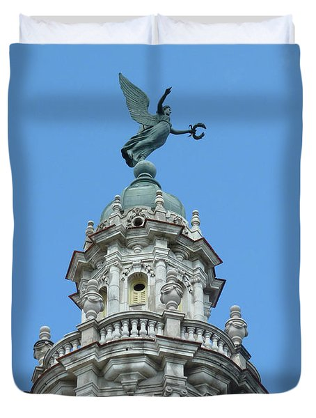 Duvet Cover featuring the photograph Cuba Architect Rooftop2 by Francesca Mackenney