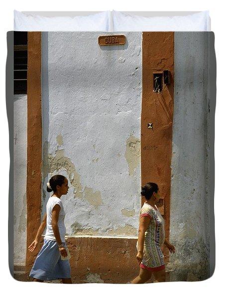 Cuba Calle In Havana Cuba Duvet Cover
