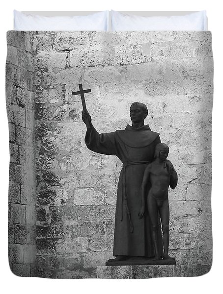 Duvet Cover featuring the photograph Cuba Church Yard And Statue by Francesca Mackenney