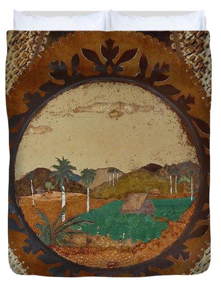 Duvet Cover featuring the digital art Cuba Farm Wall Art by Francesca Mackenney