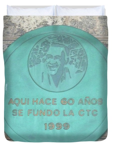 Duvet Cover featuring the photograph Cuba Plaque 1999 by Francesca Mackenney