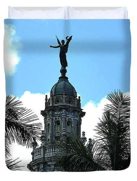 Duvet Cover featuring the digital art Cuba Rooftop W Protection Statue by Francesca Mackenney