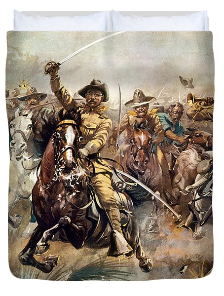 Duvet Cover featuring the photograph Cuba: Rough Riders, 1898 by Granger