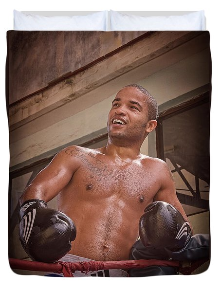 Duvet Cover featuring the photograph Cuban Boxer Ready For Sparring by Joan Carroll