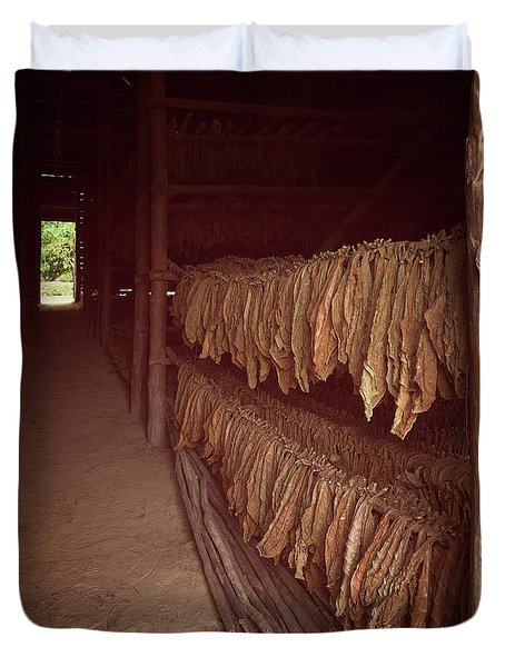Duvet Cover featuring the photograph Cuban Tobacco Shed by Joan Carroll