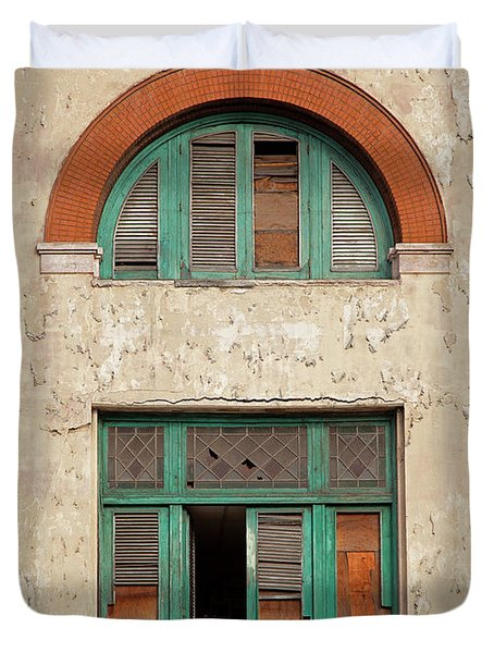 Duvet Cover featuring the photograph Cuban Woman On San Pedro Balcony Havana Cuba by Charles Harden