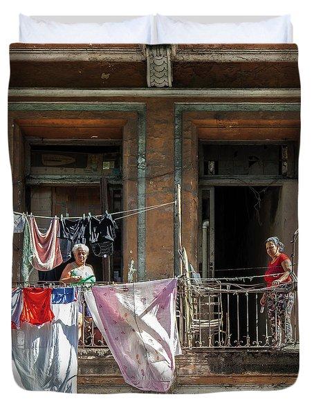 Cuban Women Hanging Laundry In Havana Cuba Duvet Cover by Charles Harden