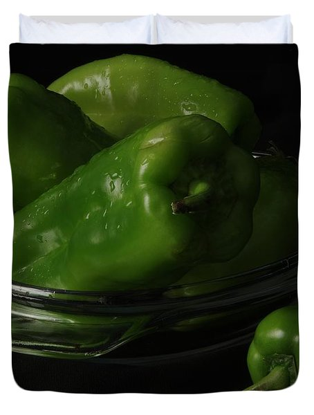 Duvet Cover featuring the photograph Cubanelle Peppers by Richard Rizzo