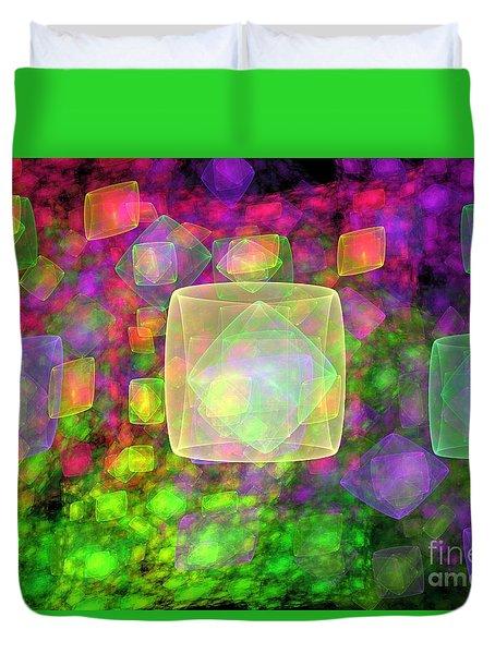 Cube Galaxies Duvet Cover