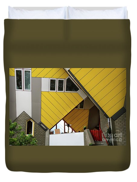 Duvet Cover featuring the photograph Cube Houses Detail In Rotterdam by RicardMN Photography