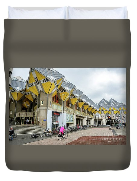 Duvet Cover featuring the photograph Cube Houses In Rotterdam by RicardMN Photography