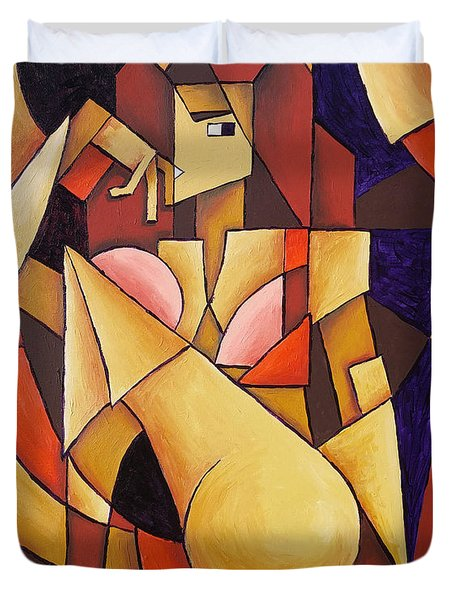 Duvet Cover featuring the painting Cube Woman by Sotuland Art