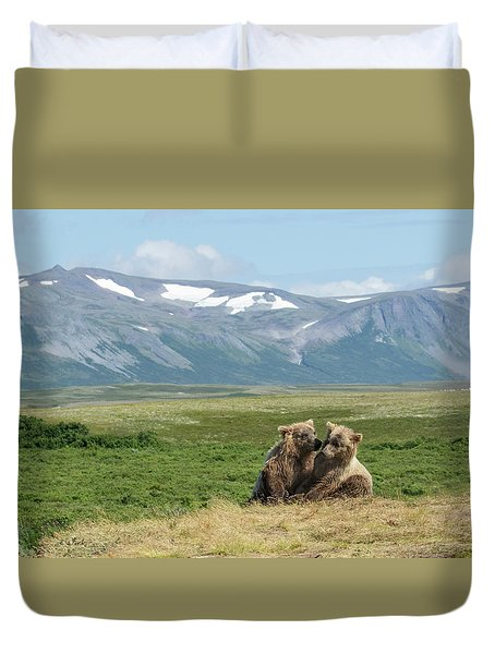 Cubs Playing On The Bluff Duvet Cover