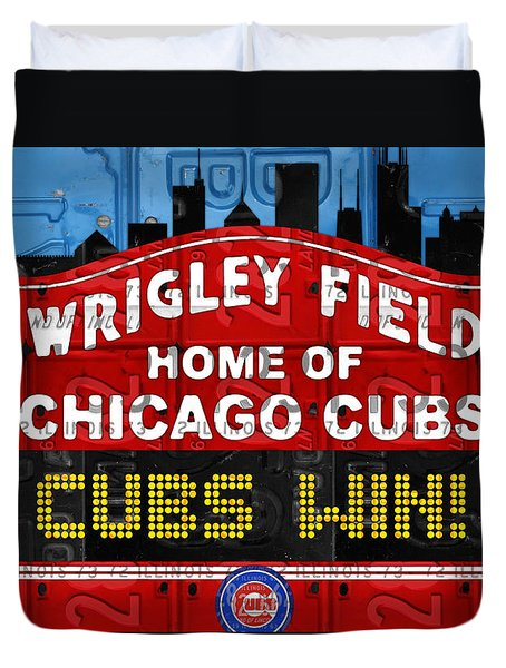 Cubs Win Wrigley Field Chicago Illinois Recycled Vintage License Plate Baseball Team Art Duvet Cover by Design Turnpike