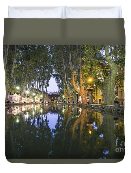 Duvet Cover featuring the photograph Cucuron Village Provence  by Juergen Held