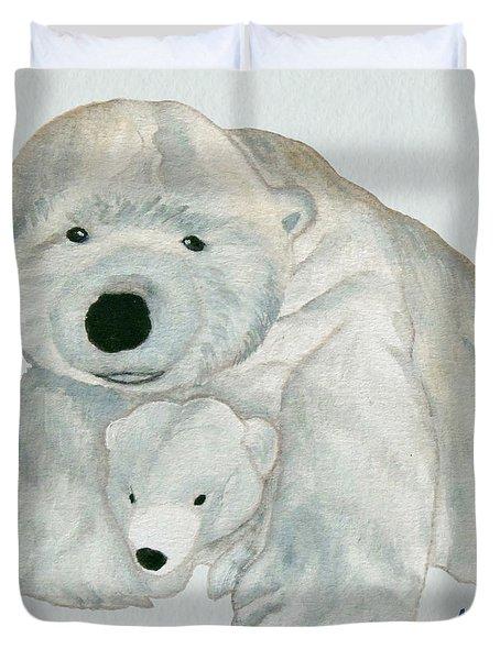 Cuddly Polar Bear Watercolor Duvet Cover