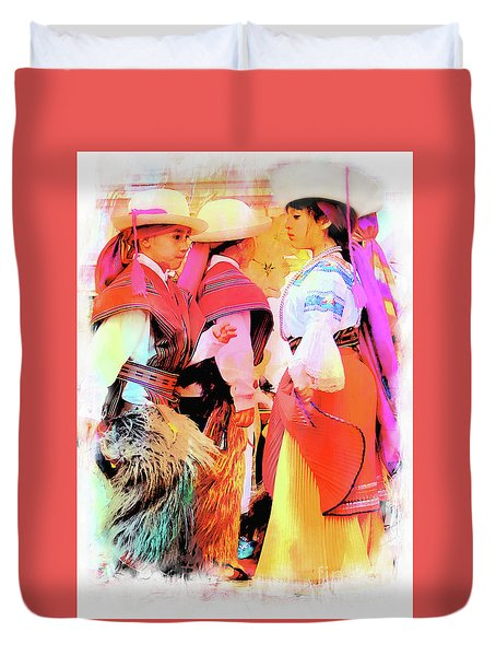 Duvet Cover featuring the photograph Cuenca Kids 884 by Al Bourassa