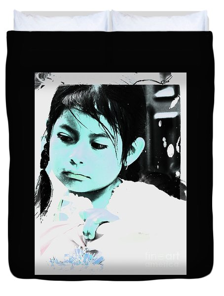 Duvet Cover featuring the photograph Cuenca Kids 886 by Al Bourassa