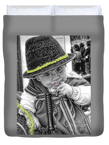 Duvet Cover featuring the photograph Cuenca Kids 888 by Al Bourassa