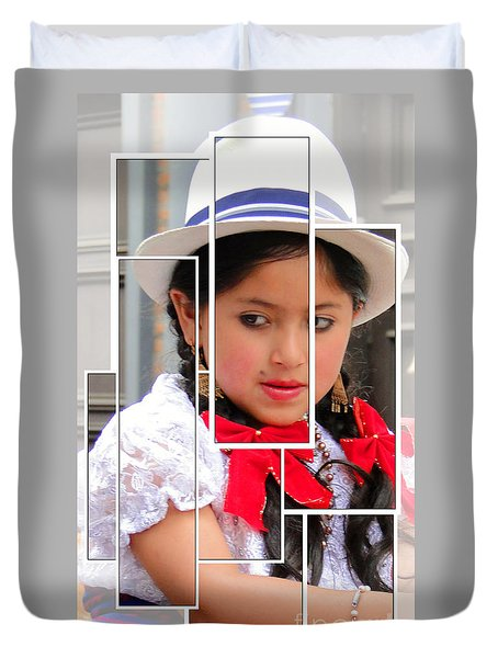 Duvet Cover featuring the photograph Cuenca Kids 890 by Al Bourassa