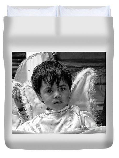 Duvet Cover featuring the photograph Cuenca Kids 893 by Al Bourassa