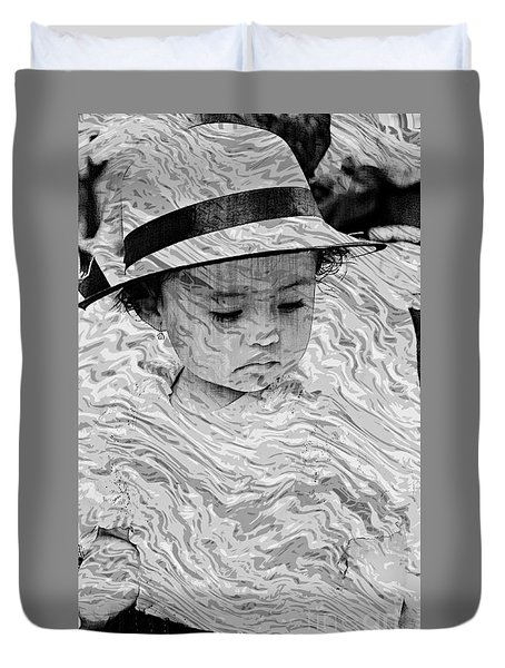 Duvet Cover featuring the photograph Cuenca Kids 894 by Al Bourassa