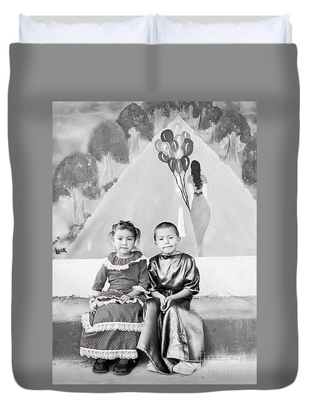 Duvet Cover featuring the photograph Cuenca Kids 896 by Al Bourassa