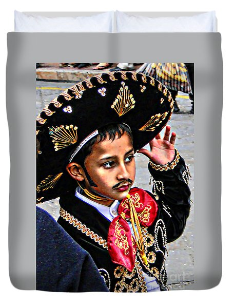 Duvet Cover featuring the photograph Cuenca Kids 897 by Al Bourassa