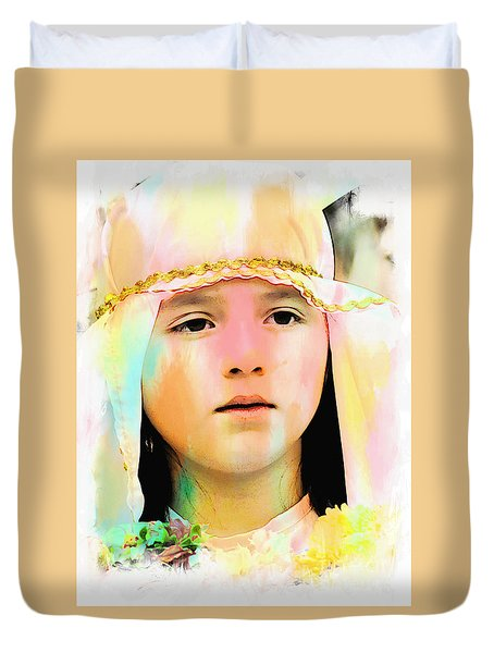 Duvet Cover featuring the photograph Cuenca Kids 899 by Al Bourassa