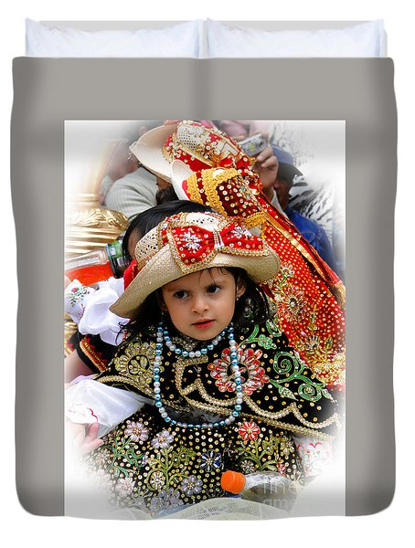 Duvet Cover featuring the photograph Cuenca Kids 900 by Al Bourassa
