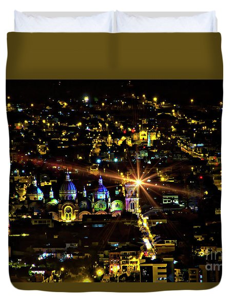 Duvet Cover featuring the photograph Cuenca's Historic District At Night by Al Bourassa