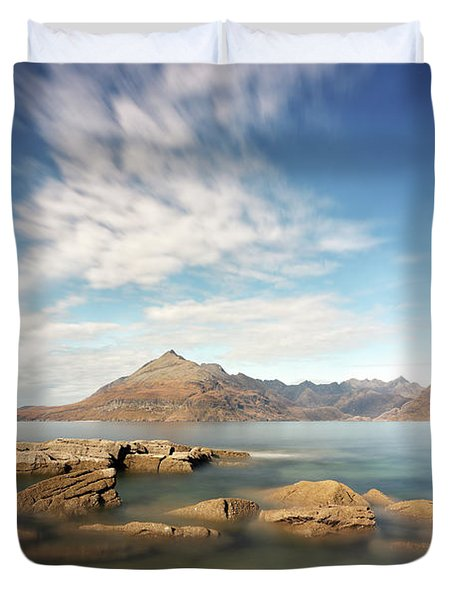 Duvet Cover featuring the photograph Cuillin Mountain Range by Grant Glendinning