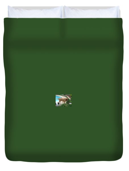 Cujo And Lucky By The Pool Duvet Cover by Val Oconnor