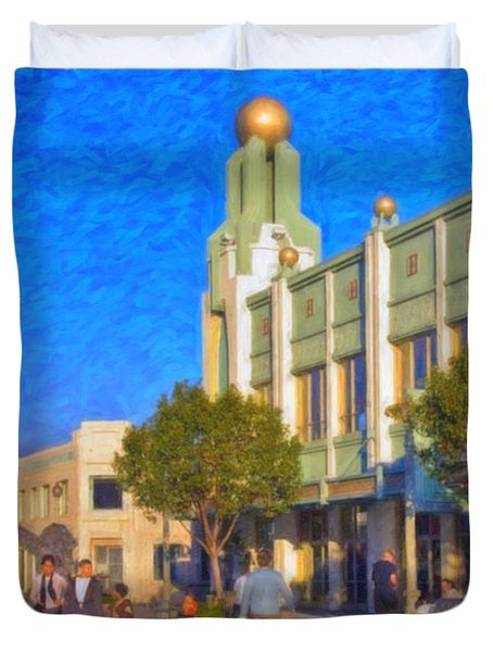 Duvet Cover featuring the photograph Culver City Plaza Theaters   by David Zanzinger