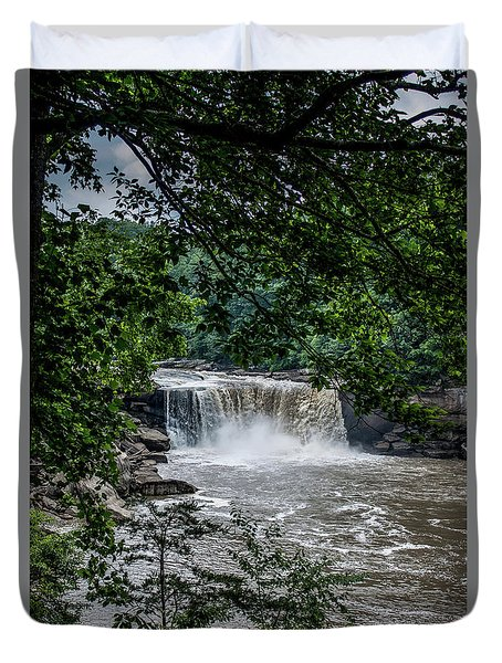 Duvet Cover featuring the photograph Cumberland Falls by Joann Copeland-Paul