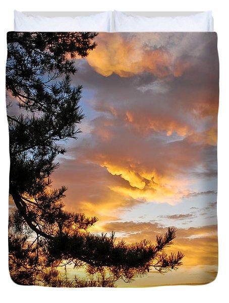 Cumulus Clouds Plum Island Duvet Cover by Michael Hubley