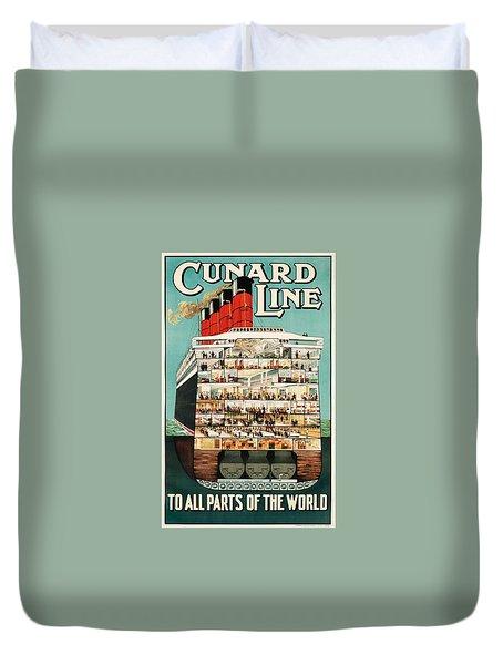 Cunard Liner Poster Duvet Cover