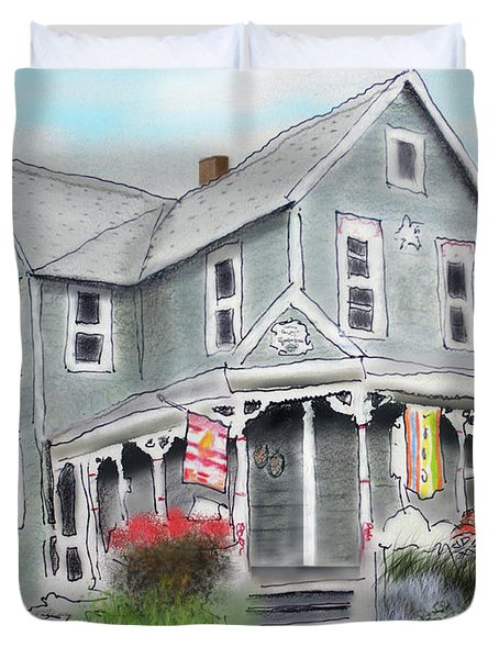 Duvet Cover featuring the drawing Cup A Joes Coffee Shop by Albert Puskaric