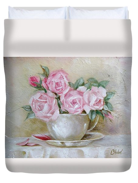Cup And Saucer Roses Duvet Cover by Chris Hobel