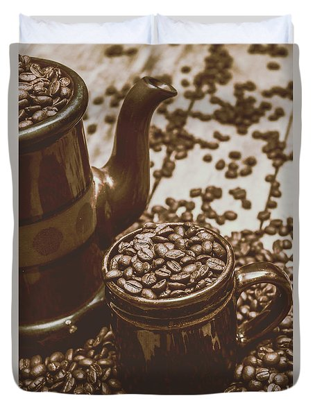 Cup And Teapot Filled With Roasted Coffee Beans Duvet Cover