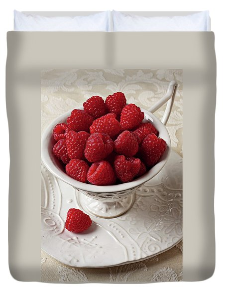 Cup Full Of Raspberries  Duvet Cover