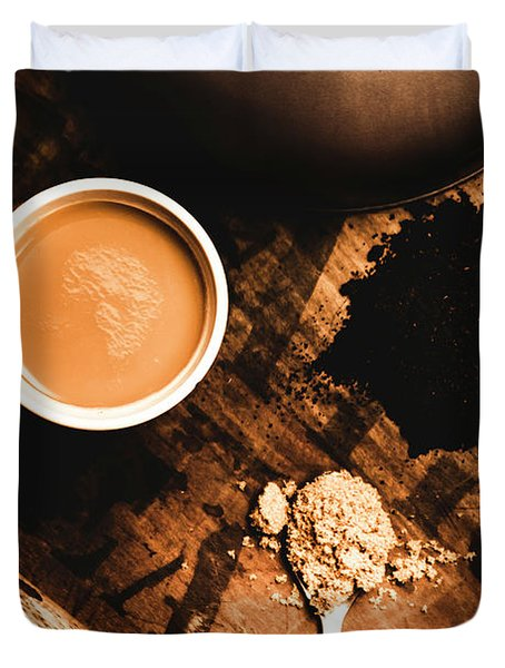 Cup Of Tea With Ingredients And Kettle On Wooden Table Duvet Cover