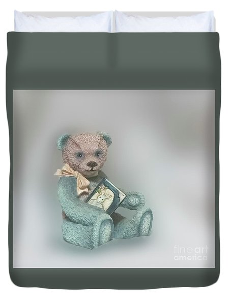 Duvet Cover featuring the photograph Cupcake Figurine by Linda Phelps