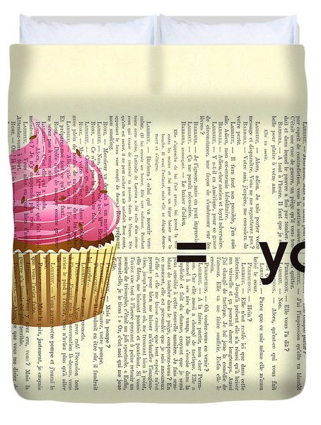 Pink Cupcake Equals You Print On Dictionary Paper Duvet Cover