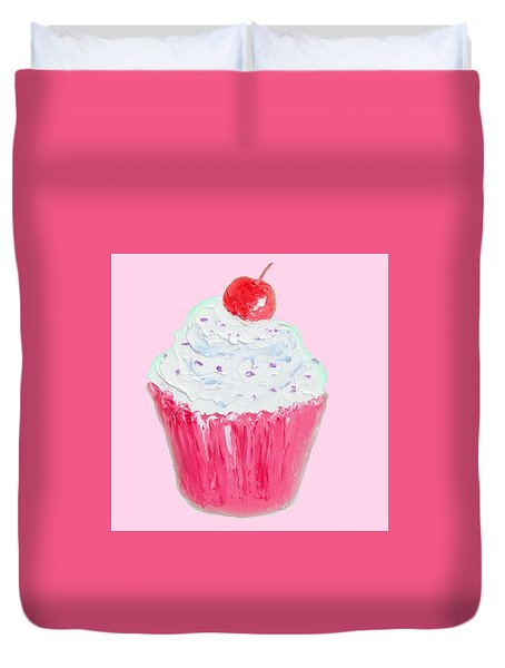 Cupcake Painting On Pink Background Duvet Cover by Jan Matson