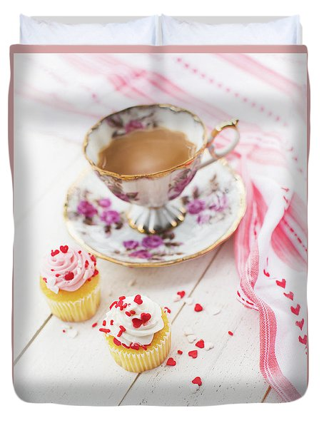 Duvet Cover featuring the photograph Cupcakes And Coffee by Rebecca Cozart